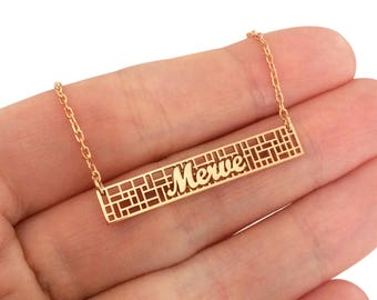 Custom Lace Bar Name Necklace, Rectangle Fussion Bar Name Necklace, Silver Bar Necklace, Personalized Bar Name Necklace, Mothers Day Gift