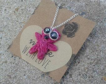 Little Monster Necklace Pink childrens