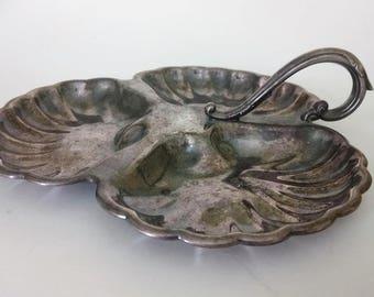 B M Mounts Silver Plate Tray Bon Bon Dish