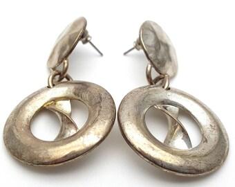 Silver tone Metal Drop Earrings Vintage Punk Rock from the 90s Steampunk Mechanical Industrialization Hard core Geometrical Grunge Round