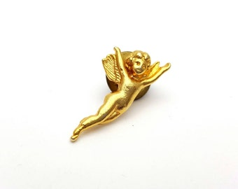 Tiny Flying Angel Gold tone Metal Pin Vintage from the 70s Peace Peaceful Divine Brooch