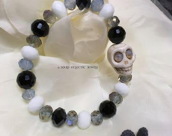 Crystal and Skull Stretch Bracelet Day of the Dead Dia De Los Muertos Punk Goth Halloween White Blue Purple Gray Jewelry Jewellery Elegant