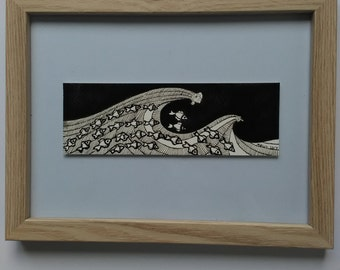 Original Handcrafted Ink Bookmark, Mini Ocean Scene