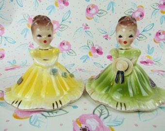 """Josef Originals Vintage SET of 2 Porcelain Bells, """"Blue Belle"""" and """"Southern Belle"""", Collectible Bells, Josef Collectibles"""