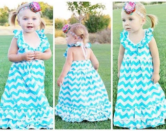 Girls Aqua Chevron Maxi Dress
