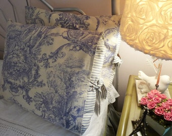 Blue french toile pillow shams w/blue ticking insert and self tie