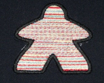 New Embroidered Rainbow Stripe Cosmic Meeple Board Gamer Patch Iron On Sew On