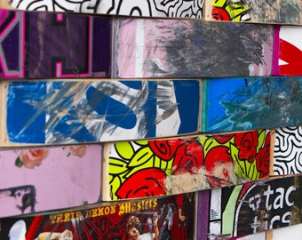 Recycled Skateboard Collage, Reclaimed Skateboard Art, Skateboard Art. Custom Sizes available. Contact for quotes.