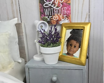 NEW! Adorable doll scale potted plant purple with white vase made for 18 inch dolls such as American girl doll