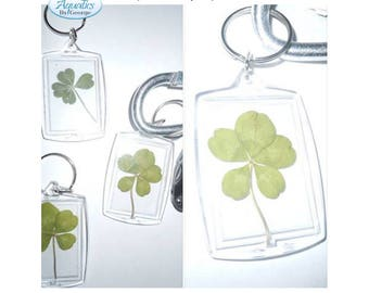 Real four leaf & five leaf clover keychain charms