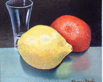 Fruit Still life original oil painting of a lemon, tangarine and a glass.