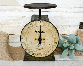 Found vintage Auto Wate family scale - utility scale - kitchen scale - chippy scale - farmhouse decor