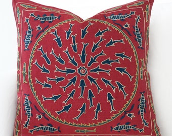 Silk Hand Embroidered Suzani Pillow Cover, suzani pillow, suzani, pillow cover, red pillow, red throw pillow , red decorative pillow, fish