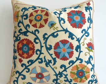 SALE ! - Hand Embroidered Silk Suzani Pillow Cover - Decorative Pillows For, Silk Pillow Decorative Throw Pillow Blue Yellow Beige Cushion