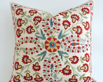 SALE - Embroidered Silk Suzani Pillow Cover Decorative Pillow Throw Pillow gift Suzani Pillow Ethnic Pillows Bohemian Pillows Accent Pillows
