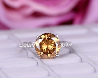 10mm Round Cut Yellow Moissanite Engagement ring/Fancy Brown/Diamond wedding band/14k Rose gold/Stackable/Half Eternity ring/Pave Set/Prong