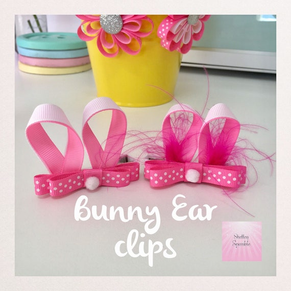 Pink ribbon bunny ears for girls, Easter hair accessories for girls.