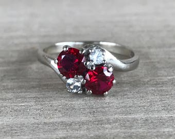 CLEARANCE Synthetic Ruby and white topaz vintage ring