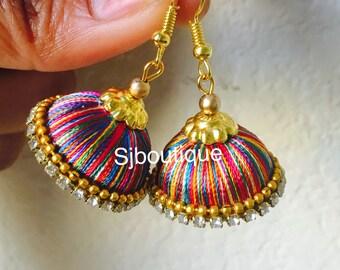 JHUMKA EARRINGS # Silk thread earrings