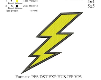 Lightning bolt embroidery machine . embroidery pattern . embroidery designs No 525 3 sizes  instant download