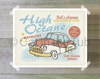 High Octane Retro Vintage Car Print, Red Car, Nursery Car Art, Printable Art, Digital Art Print, 8x10, INSTANT DOWNLOADABLE ART