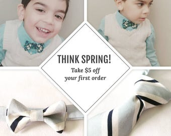 New Customer discount on all custom-made neckties, boys bowties, or sets! New Spring Collection!