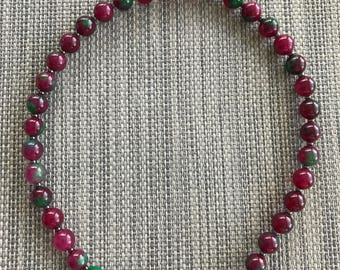 Natural ruby jade necklace