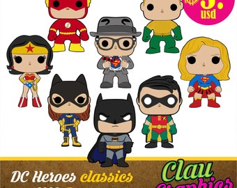 DC Heroes Classics Characters, SVG patterns and PNG images, eight models with awesome details for using on papercraft projects and more