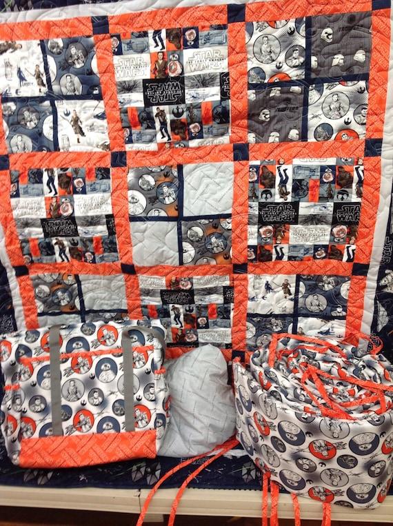 Orange & Black Star Wars Crib Set by JillsFabricandDesign