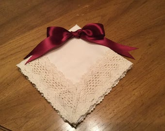 Vintage Wedding handkerchief handmade for mothers and daughters.