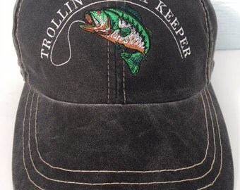 "Embroidered Bass Fishing Cap ""Trollin' for a keeper"""