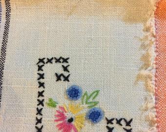 Set of 2 vintage hand embroidered napkins
