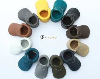 Baby Moccasins, Genuine Leather Baby Moccasins, Fringeless Urban Loafer Baby Moccasins, Toddler Moccs, Toddler Moccasins, Baby Crib Shoes