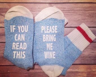 If You Can Read This Bring Me Wine, Beer Socks, Custom Socks, Bring Me Wine Socks, Thermal Socks, Stocking Stuffers, Bt Blue Socks, Crew Cut