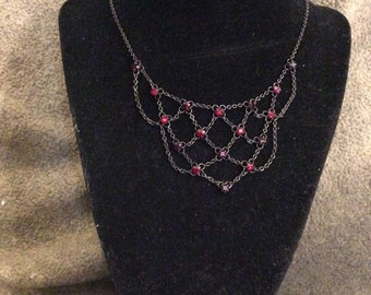 """Vintage 1990s Gothic Chain Necklace With Red Crystals From """"1928"""""""