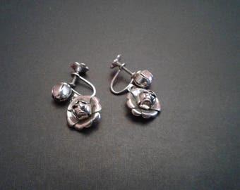 Rose Dangle Screw-Back Earrings