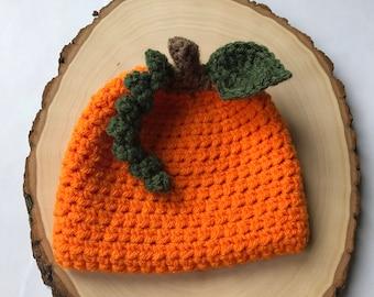pumpkin hat-newborn pumpkin hat-baby pumpkin hat-newborn photo prop- crochet baby hat-ready to ship-fall hat-halloween hat