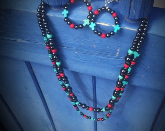 Multistrand Hematite Red & Turquoise Cross Necklace Set