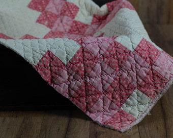 Vintage Pink Patchwork Quilt Piece