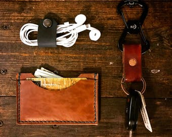 3-pocket Wallet -- handmade slim leather wallet
