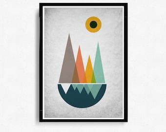 Scandinavian Art Print, triangles Mountains Print Art, Mid Century Modern minimalist Art, Abstract Wall Art, Modern Art Print *16*