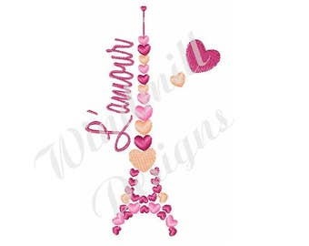 Eiffel Tower Hearts - Machine Embroidery Design