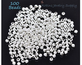 100 pcs - 2.4mm Silver Plated Spacer Beads - Silver Plated Beads - Jewelry Beads - Jewelry Findings - Beads - Jewelry Components - B0014