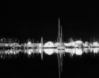 Black and White Print, Black and White, Photograph, Art Print, Wall Art, Monochrome, Annapolis, Sailboat