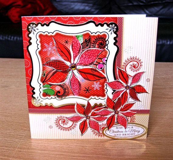 Christmas Card Handmade - luxury personalised unique quality special poinsettia UK