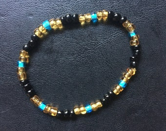 Black/Gold/Aqua Seed Bead Bracelet