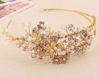 VICKY - Gold Crystal and Pearl Tiara Crown