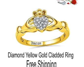 Yellow Gold Irish Style Cladded Diamond Ring Free Shipping By Dbayzcom