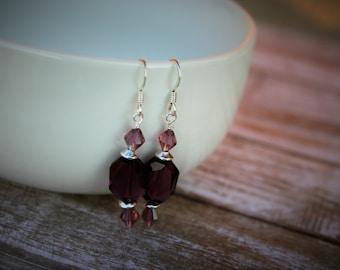 Swarovski Beaded Earrings, Purple Crystal Earrings, Swarovski Crystal Earrings, Purple Beaded Earrings, Silver Earrings, Purple Earrings