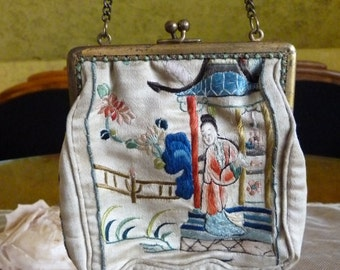 Japanese Evening Bag, Antique Purse, Edwardian Bag, Handbag, ca. 1910